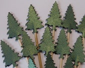 24 Green Metallic Shimmer Evergreen Tree Cupcake Toppers - Food Picks - Party Picks - Christmas Trees - SewPrettyInVermont