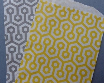 20 Yellow and Grey Honeycomb Medium Middy Bitty Paper Bags - Favor / Treat Bags - Candy Bags - Wedding - Birthday - Envelopes