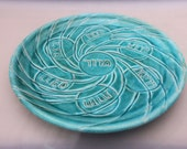 Pesach Seder Plate - Turquoise Ceramic -  Carved Pottery