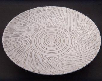 Large Pottery Serving Platter - Glazed Hand Carved Terracotta - Pottery Platter