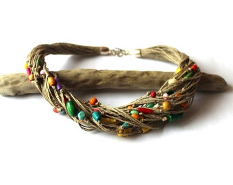 Multicolor linen necklace / eco style jewelry
