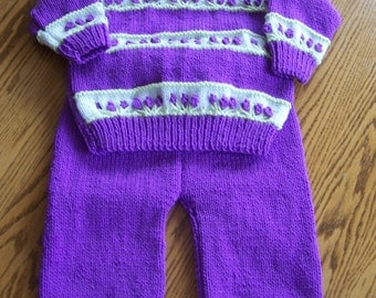 New Hand Knit Sweater and Legging Set 12-18m