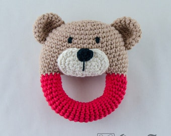 Teddy Bear Rattle  - PDF Crochet Pattern -  Instant Download - Animal Rattle Crochet Nursery Baby  Shower