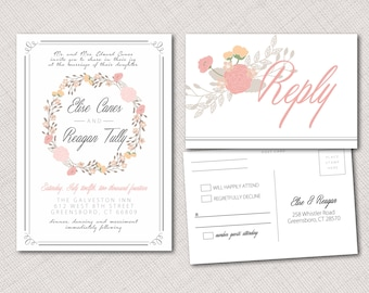 Floral Invitation and Postcard RSVP