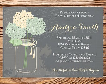 Baby shower invitation, Hydrangea baby shower Invitation, boy, girl, blue, green, pink, purple, mint, hydrangea, 1144