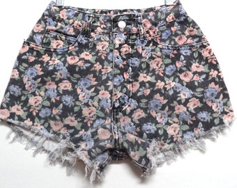 24 inch waist......High Waisted Black with Flowers Vintage 80's  Denim Shorts