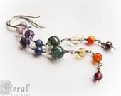 Bifrost Chains. Delicate Long Rainbow Chakra Chain Earrings