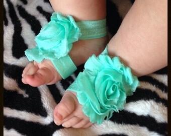 Barefoot Sandals, Baby Girl Elastic Flower Shoes, Seafoam aqua, summer sizes newborn 0-5 5-12 12-18 months pink blue green teal red shoes