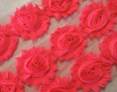 "Neon Pink Shabby Rose Trim 2.5"" Shabby Flowers Shabby Chiffon Flowers - Solid Shabby Chic Trim Wholesale Rosette trim 6cm 1 yard or 1/2 yard"