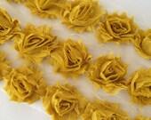 """Mustard Yellow Petite Shabby Rose Trim 1.5"""" small Shabby Flowers Mini Shabby Chiffon Flowers Chiffon Flower Shabby Chic Wholesale 3cm #P807"""
