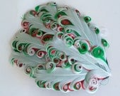 White on Red and Green Feather Pad- Curly Feather Pad -  Holiday Christmas  Feather Pad FP151 - (1 piece)