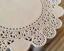 "25 French Lace Round Paper Doilies - 12 inch white doily - 12"" extra large placemat DIY lace cupcake holders"