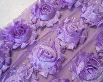 "LAVENDER SHIMMER Shabby Rose Trim 2.5"" Shabby Flowers Shabby Chiffon Flowers Shiny Cloud Shabby Chic Trim Wholesale Rosette trim 6cm 1 yard"