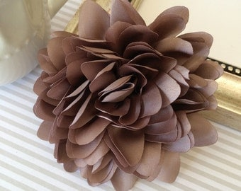 Taupe Fabric flower  -  4''  large silk White  fabric flower - flat back  Dahlia Silk Flower  Taupe Khaki brown tan fabric flowers