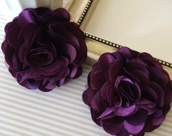 "Large 3"" Plum satin tulle Fabric flowers - Satin mesh flowers choose flat back or with hair clip or brooch pin"