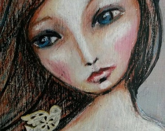 Painting Girl On Wood..Birdcage.