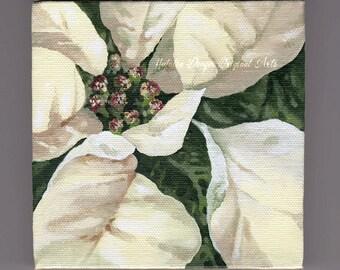 White Flower, ORIGINAL 4x4 Painting, Flower Painting, Poinsettia, Christmas Flower, Christmas Gift, Green, White, Cream, Winter Gift