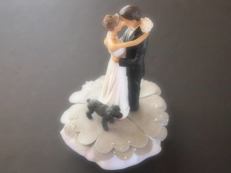 Cake Topper Wedding Light Gray Bride and Groom Black Poodle