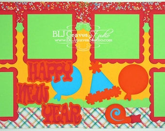 2 Premade Scrapbook Pages 12x12 Layout Paper Piecing Happy New Year Handmade 043P