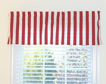 Made to Order Window Curtains, Red Stripes Unlined Curtain Valance, Choose Your Window Treatments, Custom Made Window Valances