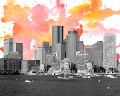 Boston Skyline  - Massachusetts State - N.W Original Modern Fine Art Cityscape Graphic Design and Water Color Painting- Print