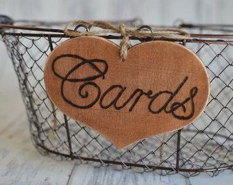 """Large Rustic Wedding """"Cards"""" Sign  for Your Rustic, Country, Shabby Chic Wedding- or  birthdays, anniversaries, graduation. Ready to Ship."""