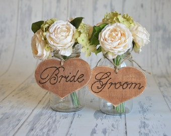 Rustic Bride and Groom Chair Signs- (set of 2) For your Rustic, Country, Woodland, Outdoor,  Wedding, Reception, Rehearsal Dinner, Etc.