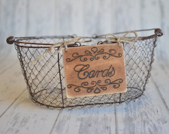 """Rustic Wedding """"Cards"""" Sign WITH WIRE BASKET   for Your Rustic, Country, Shabby Chic Wedding- Ready to Ship"""