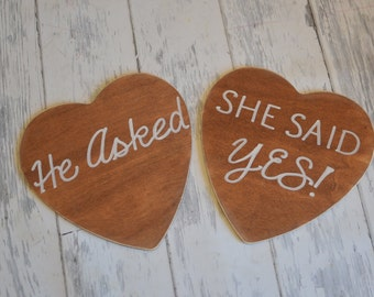 Rustic Save the Date Engagement/Wedding Photography Props-Wedding Signs-He Asked/She Said Yes- Ships Quickly