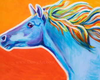 Horse, DawgArt, Horse Art, Horse Painting, Southwestern Art, Equestrian Art, Colorful Horse Art, Original Painting, Art