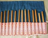 Pencil Holder, Waldorf Colored Pencils, Art and Crafts Tools, Makeup Pouch Case Roll, Red Chevron, Denim