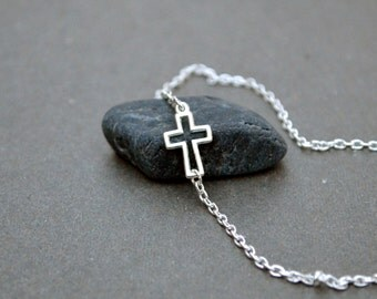 Sideways Cross Necklace, Celebrity inspired necklace, silver cross necklace, celebrity necklace Valentine day gift for her religious jewelry