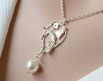 Silver Bird Necklace Bridesmaid Pearl Necklace Statement necklace Lariat necklace silver bird pendant pearl mother necklace set of 3 4 5 6 7