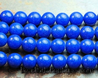 4mm Lapis Blue Mountain Jade Round Gemstone Beads - 15 Inch Strand