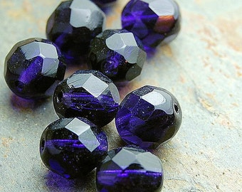 12mm Czech Beads Faceted in Deep Violet Purple -8