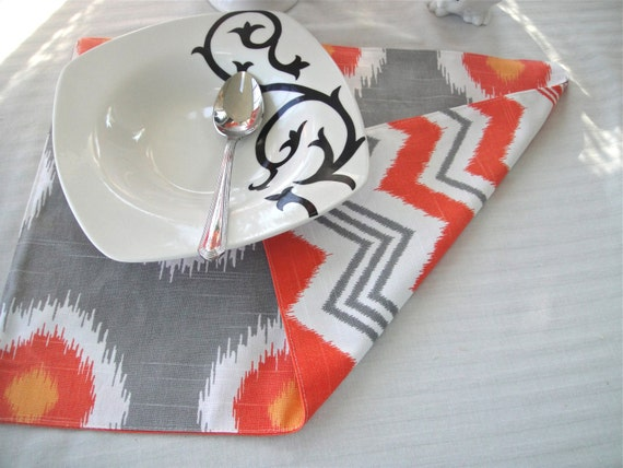 Fall Placemats -Ikat Chili/Chevron Available in Sets Of 4 or 6, Table Placemats, Table Decor, Thanksgiving Placemats