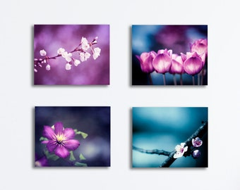 Purple, Blue Canvas Set - dark flower four nature violet pink plum photography gallery wrapped floral print set botanical wall art pictures