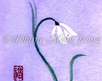 "Watercolor Chinese Brush Painting Card ""Snowdrop Flower"""