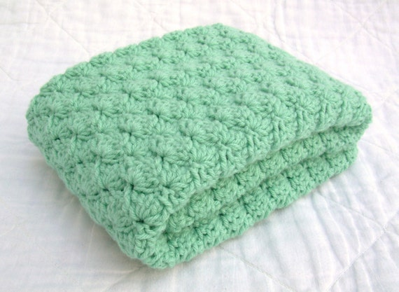 Crochet Baby Blanket, Baby Blanket, Crochet Green Baby Blanket, light sage green, mint, travel size