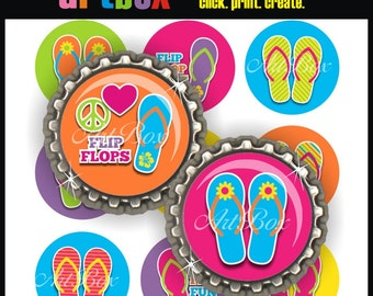 Flip Flop Fun Bottle Cap Images - 4x6 Digital Collage Sheet - BottleCap One Inch Circles for Pendants, Hair Bows, Badge Reels, Magnets