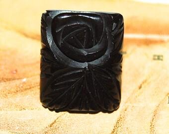 Vintage 30s Carved Black Bakelite Ring w Rose & Leaves Design
