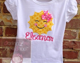 Sunshine Shirt or bodysuit for girls -- You Are My Sunshine -- beautiful hot pink and yellow sunshine shirt