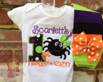 My First Halloween outfit for baby girls -- bodysuit and leg warmers in purple, black, green and orange