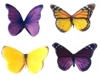 Cupcake Toppers - Edible Butterfly Cake Decorations in Purple and Yellow - Kids Cakes, Wedding Cakes, Birthday Cupcakes