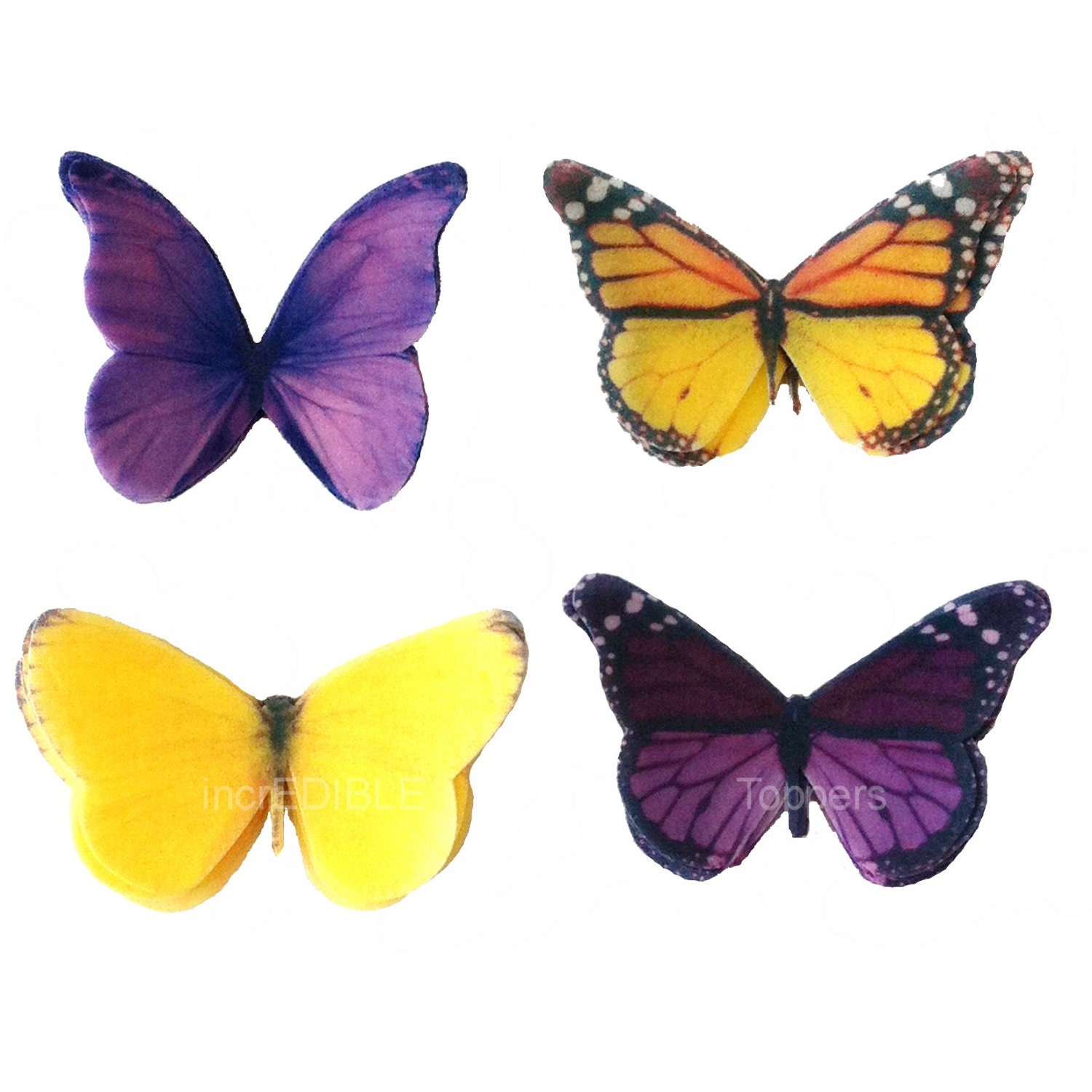 Cupcake Toppers Edible Butterfly Cake Decorations in Purple