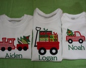 Personalized Applique Christmas Train Truck Wagon Long/Short sleeve tshirt or onesie
