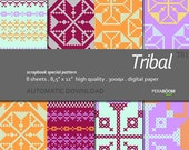 "Cross stitch Digital Paper pack + Tribal 1 + Scrapbook Quality Paper (8.5x11""- 300 dpi)  8 sheet TR1 + Instant Download +"