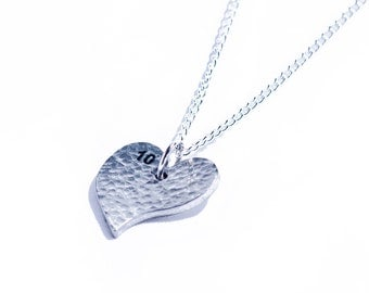 Tin 10th Wedding Anniversary Heart Pendant (made from pure tin content)