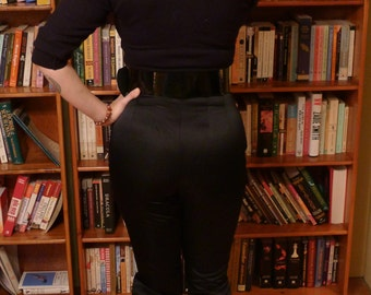 HOSTESS with the mostess PANTS--Sexy Black Liquid Satin 1950s Capri Pants--S,M