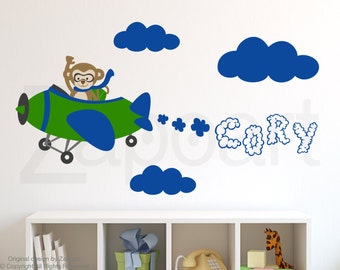Monkey on a Plane with Personalized Name Wall Decal